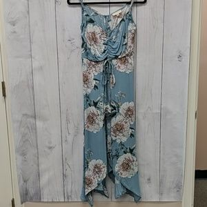 Promesa Blue Floral Caped Romoer With Tie